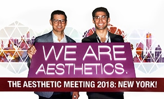 A photograph of Dr. Jason Roostaeian and Dr. Sean Saadat at the 2018 Aesthetic Meeting