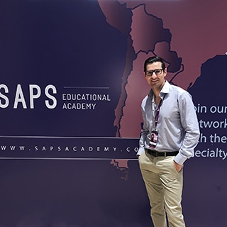 A photo of Dr. Jason Roostaeian at the South American Plastic Surgery 2019 meeting