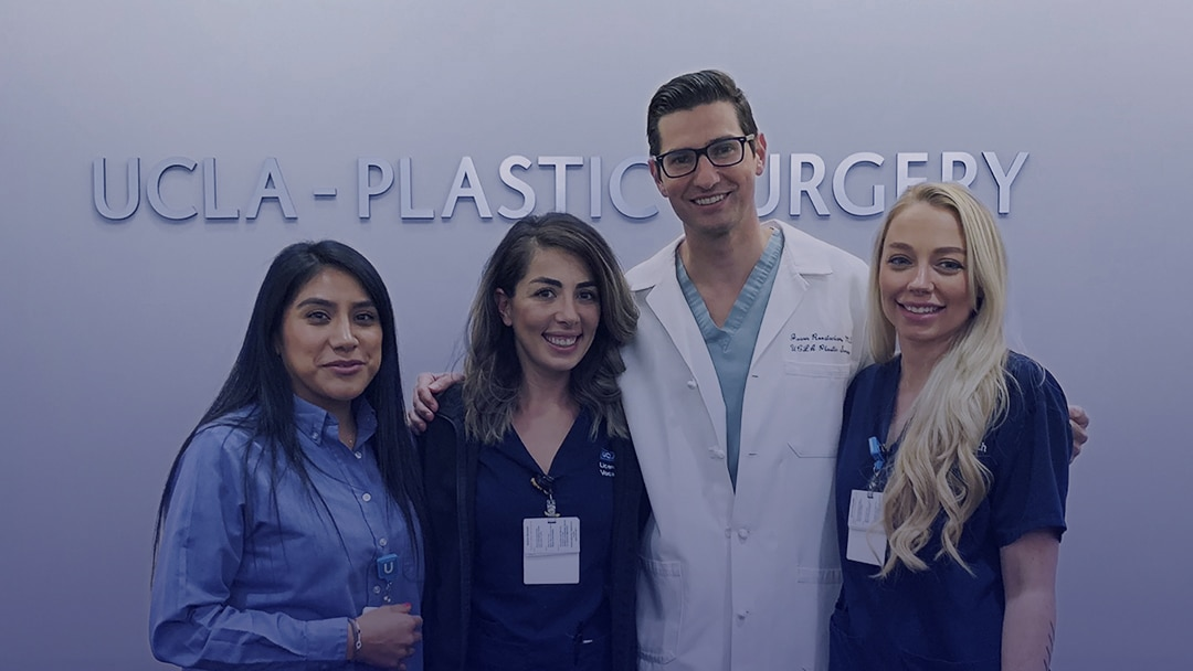 A photo of UCLA plastic surgeon Jason Roostaeian MD with office staff