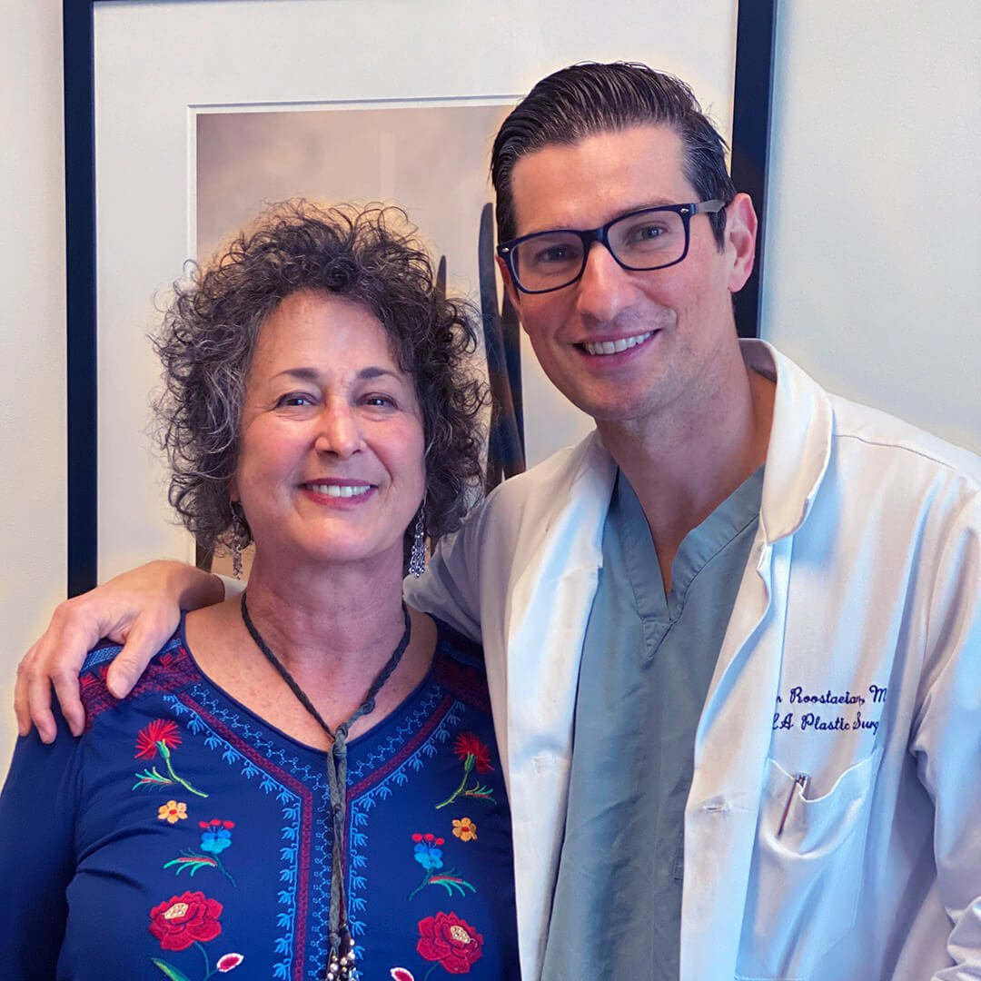 A photo of Dr. Jason Roostaeian and a natural looking rhinoplasty mohs skin cancer reconstruction female patient