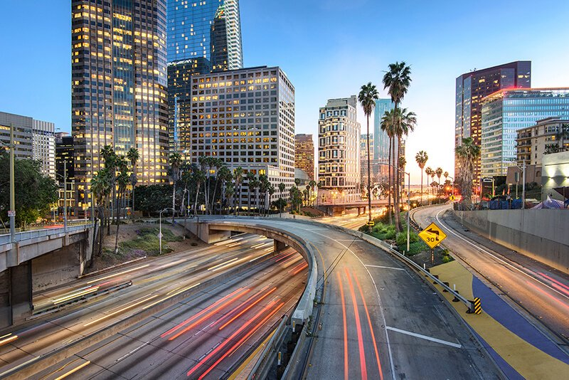 A photo of downtown Los Angeles welcoming Dr. Jason Roostaeian's out of town patients